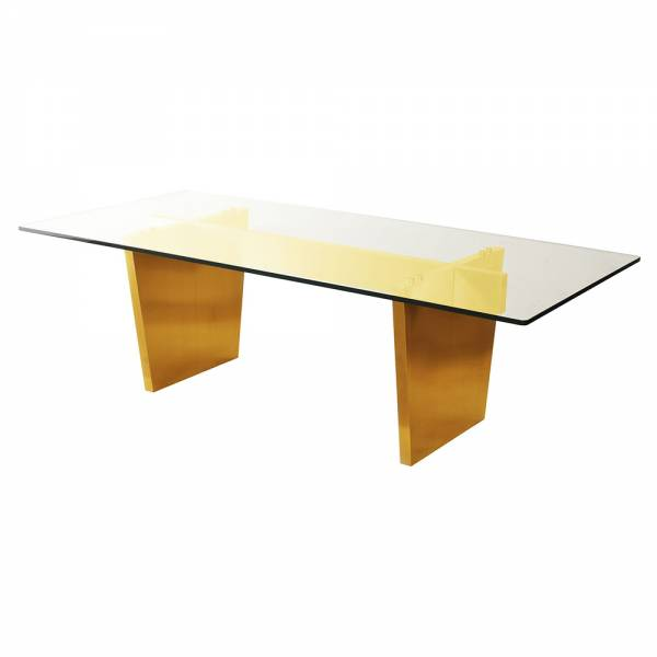 Aiden Dining Table – Glass Gold | Rouse Home