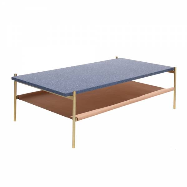 Duotone Coffee Table – Rectangular Brass, Blue Mosaic, Natural Leather | Rouse Home