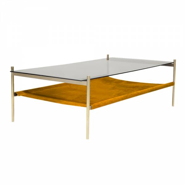 Duotone Coffee Table – Rectangular Brass, Smoked Glass, Saffron Suede | Rouse Home