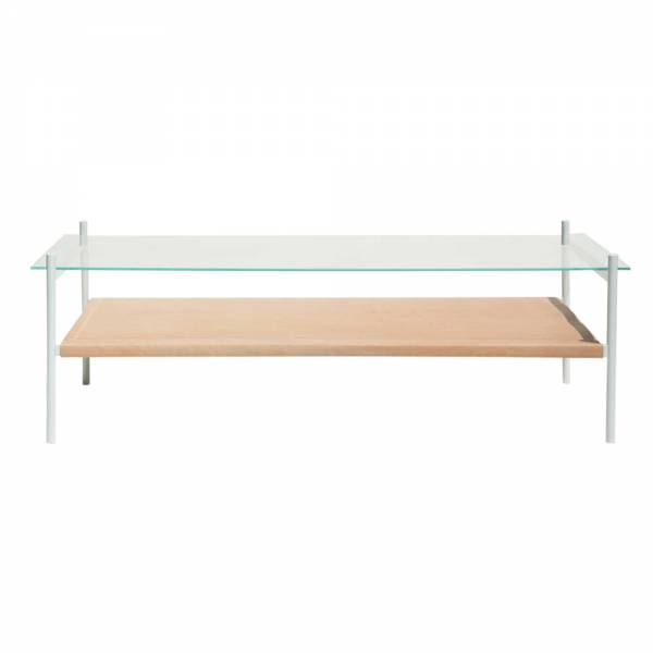 Duotone Coffee Table – Rectangular White, Clear Glass, Natural Leather | Rouse Home