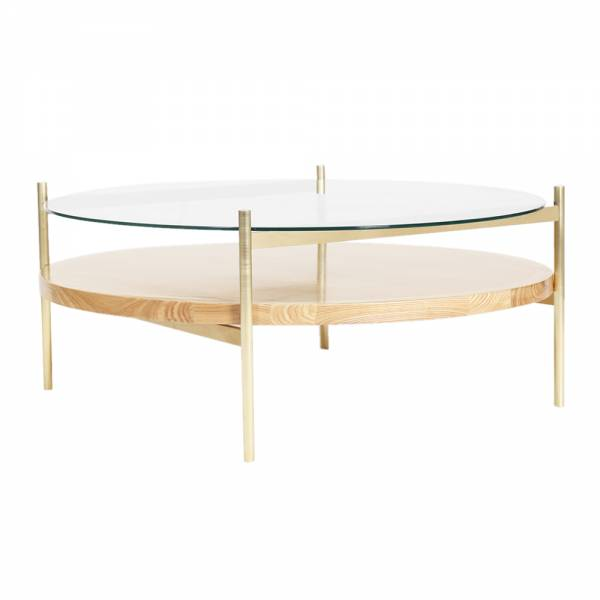 Duotone Coffee Table – Round Brass, Clear Glass, Ash Wood | Rouse Home