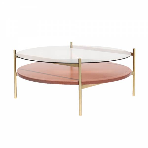 Duotone Coffee Table – Round Brass, Clear Glass, Rust Mosaic | Rouse Home