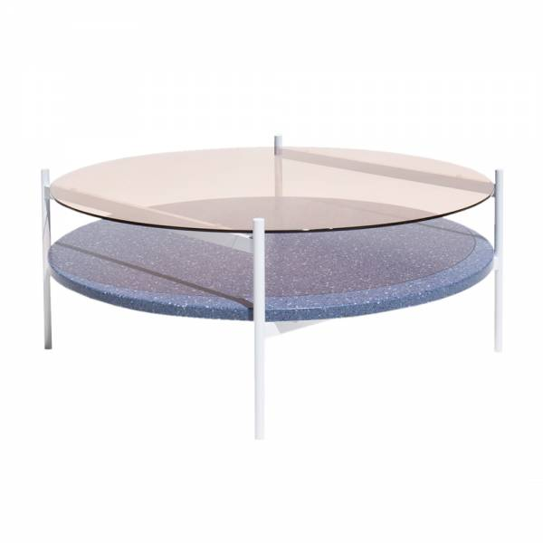 Duotone Coffee Table – Round White, Rose Glass, Blue Mosaic | Rouse Home