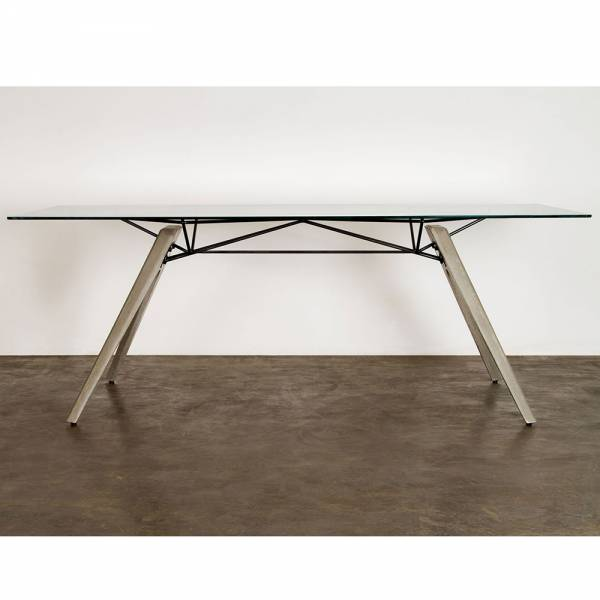 Kahn Dining Table – Glass Gray | Rouse Home