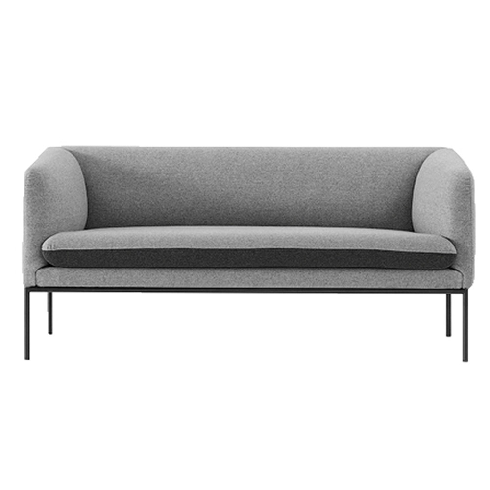 Turn 2 Seat Sofa – Light Gray and Dark Gray Wool | Rouse Home