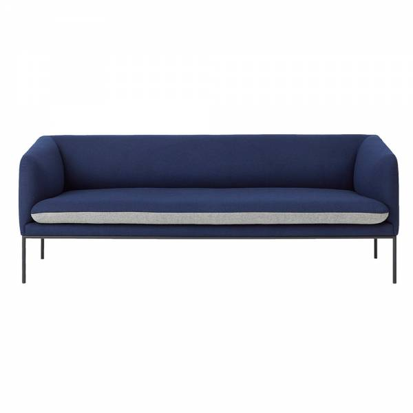 Turn 3 Seat Sofa – Blue and Light Gray Wool | Rouse Home