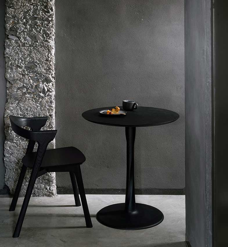 Black Round Wood Side | Rouse Home
