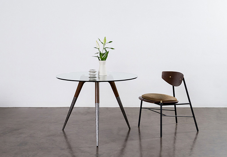 Round Glass Top Industrial Dining Table | Rouse Home